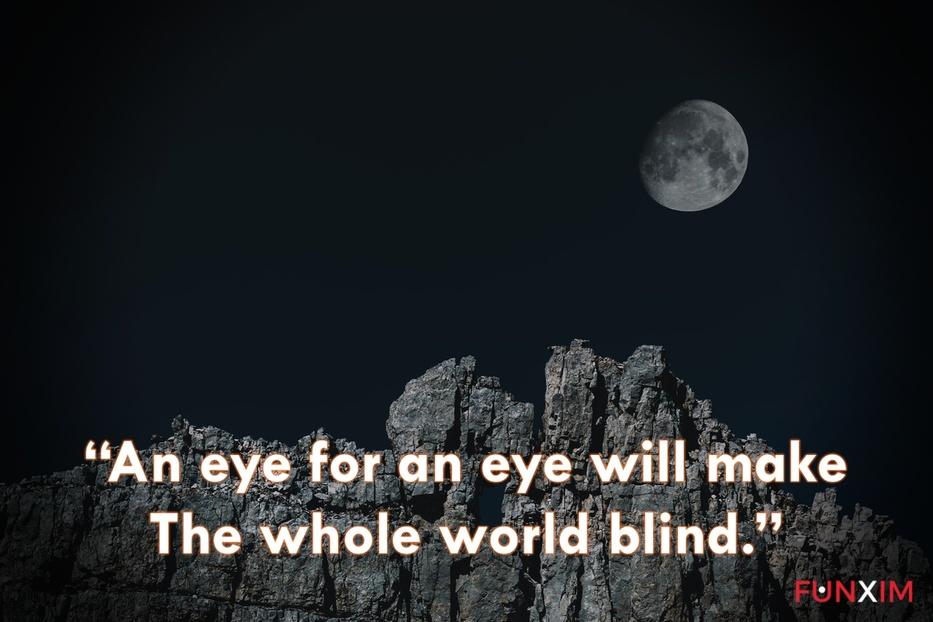 """An eye for an eye will make the whole world blind."""