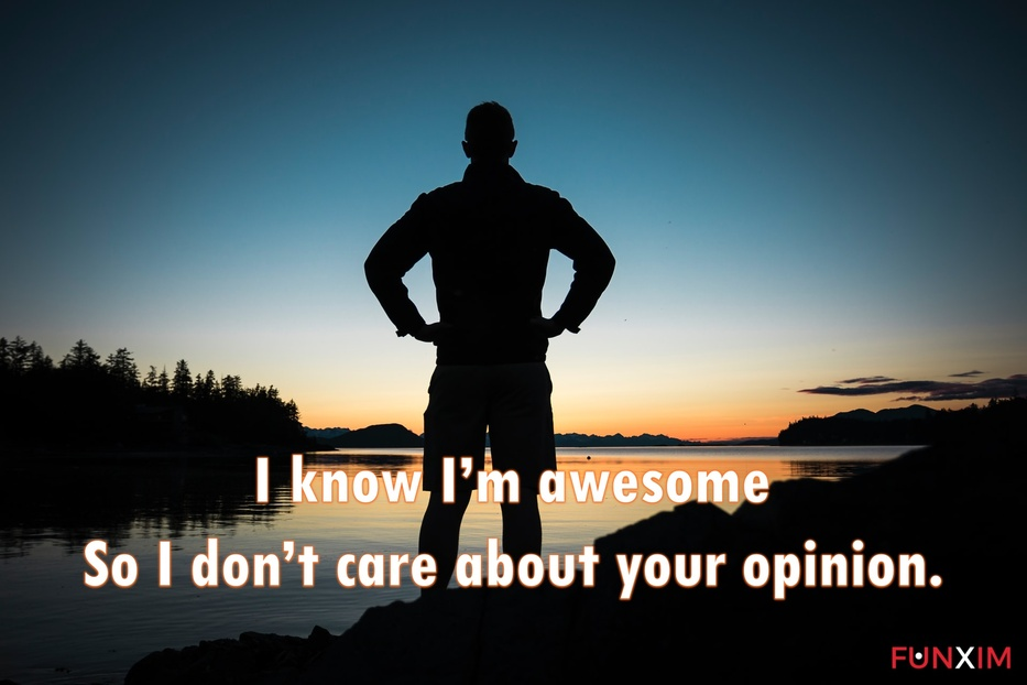 I know I'm awesome, so I don't care about your opinion.