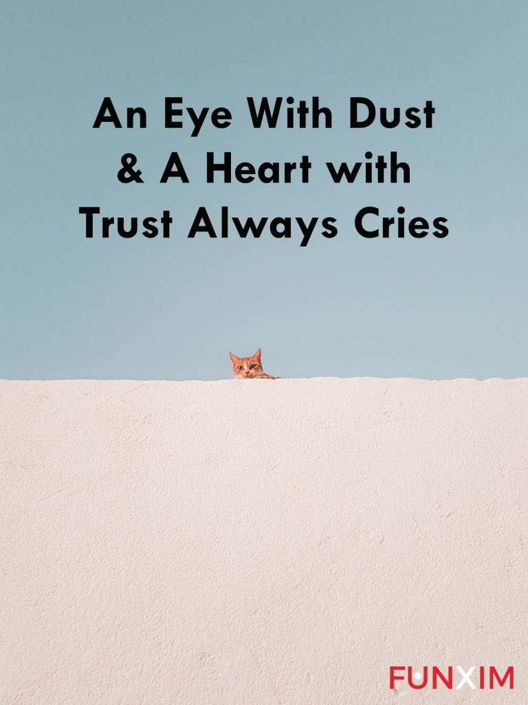 An eye with dust & a heart with trust always cries