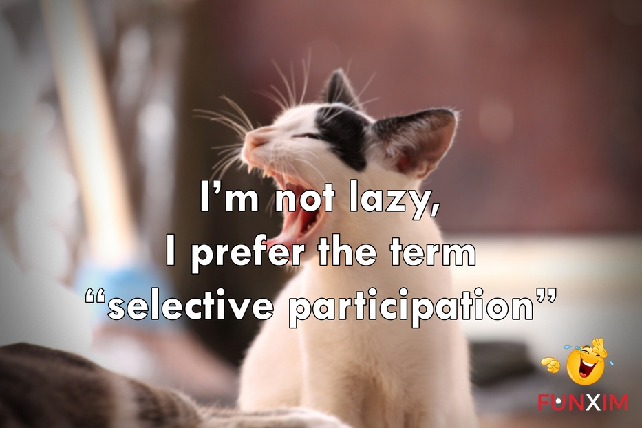 "I'm not lazy, I prefer the term ""selective participation""."