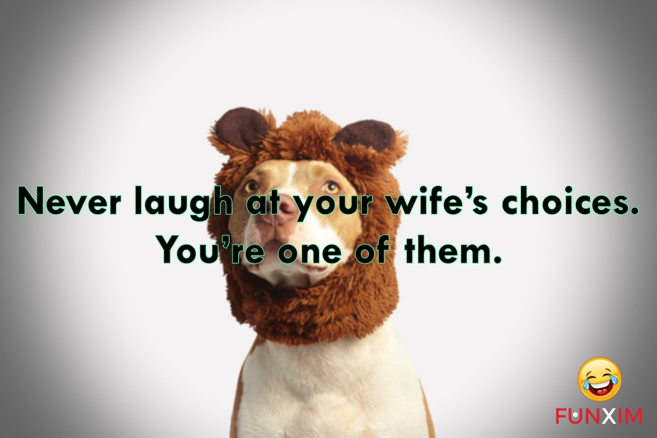 Never laugh at your wife's choices. You're one of them.